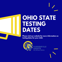 Ohio State Testing, Spring 2019 Schedule