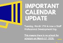 Important School Calendar Update