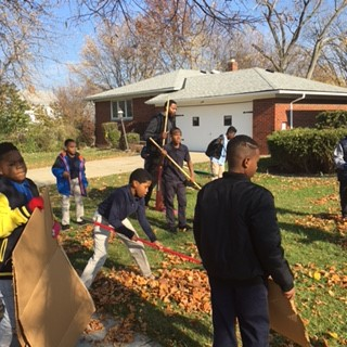 5th Graders doing Community Service Yardwork