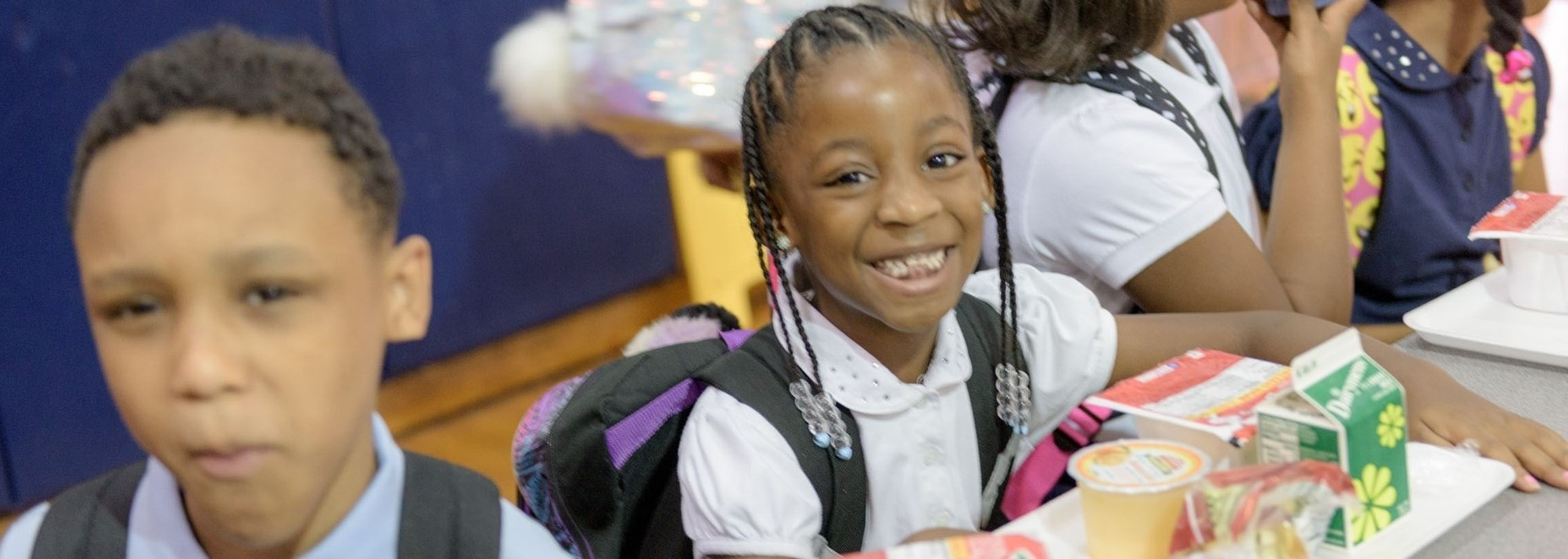 Students eating breakfast at Westwood Elementary on the first day of school