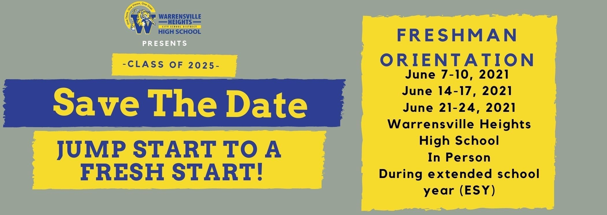 Freshman Orientation is right around the corner Tigers. The orientation will be held during our extended school year. Don't forget to Save the Date.