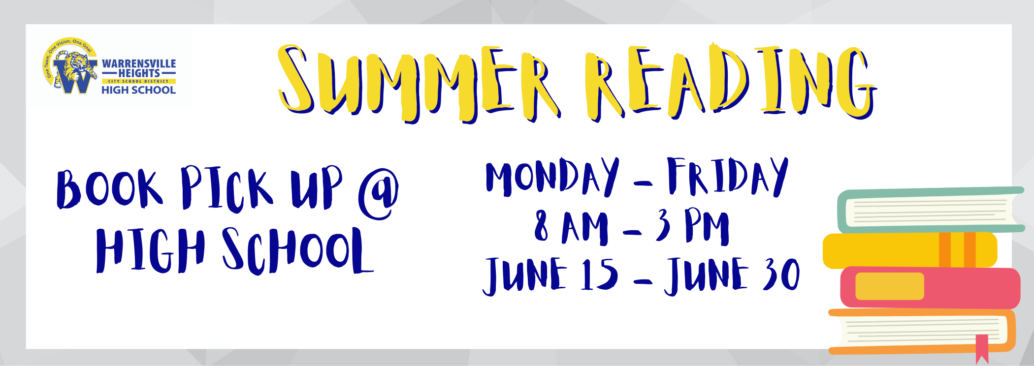 summer reading book pick up at the high school monday through friday 8 am to 3 pm june 15 to june 30