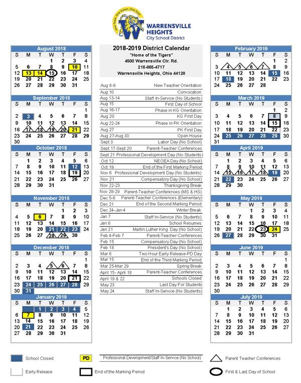 Calendar 2018-19 School Year